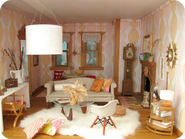 mini doll house furniture. dollhouse room with sheepskin rug mini doll house furniture