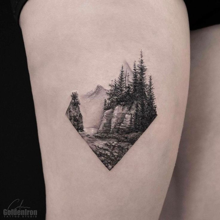 "2,022 Likes, 34 Comments - ⭕️Golden Iron Tattoo Studio⭕️ (@goldeniron_tattoos_toronto) on Instagram: ""Landscape by Calvin. @grxsy #goldenirontattoostudio #teamgoldeniron #thefineartfactory"""
