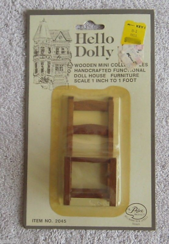 Vintage NEW Hello Dolly 2045 Dining Chair Wicker Rattan Wood Dollhouse Furniture | eBay