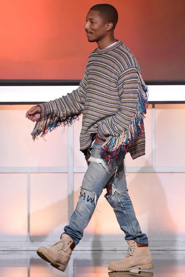 Pharrell Williams wearing  Stella McCartney Multicolor Stripes Chunky Knit Jumper