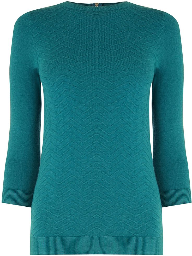 Womens teal chevron stitch jumper from Warehouse - £30 at ClothingByColour.com