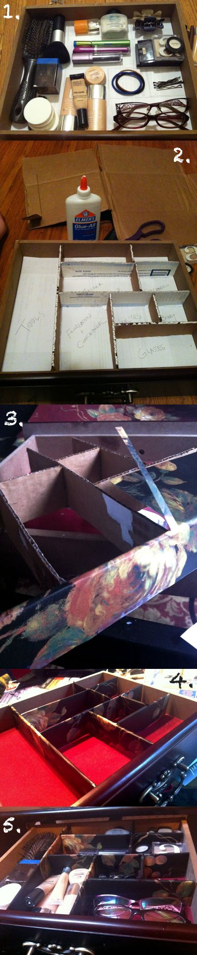 Tutorial: Make a drawer organizer made out of cardboard and wallpaper... I need to do this...