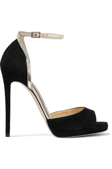 Jimmy Choo - Pearl Metallic Leather-trimmed Suede Sandals - Black - IT