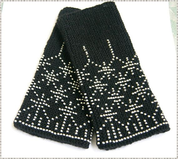 Handmade Beaded black Wrist warmers, cuffs with silver beads, wool, stars MADE TO ORDER