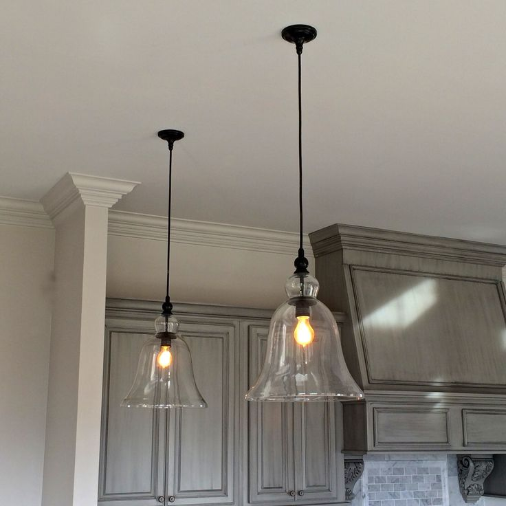 Above kitchen counter large glass bell hanging pendant for S shaped track lighting