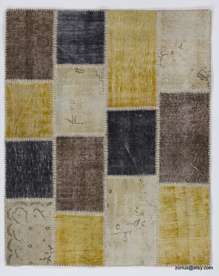 Yellow, Black, Beige and Brown Handmade Turkish Patchwork Rug by Zorlus on Etsy
