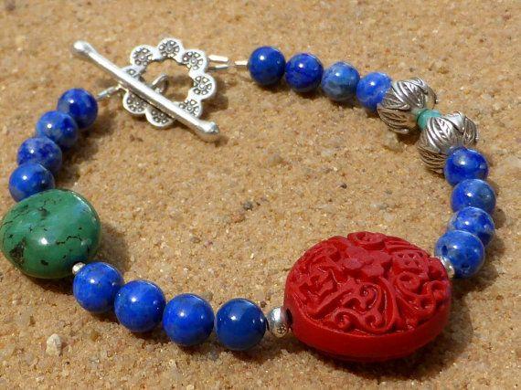 Lapis Lazuli Bracelet with Resin Cinnabar Bead Hill by Lapideum