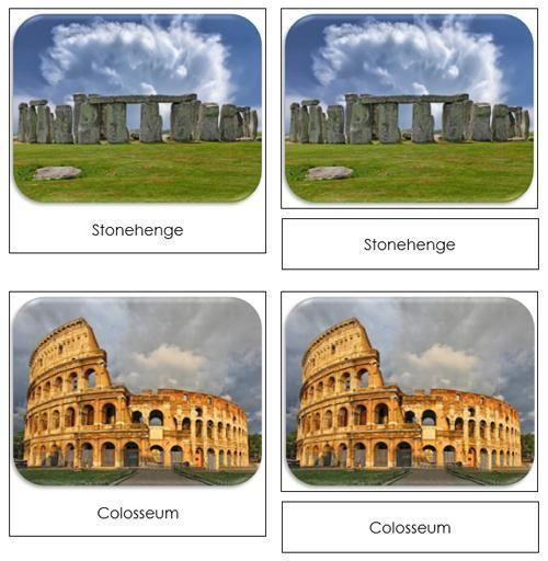 World Landmarks Safari Toob Cards - printable cards by Montessori Print Shop
