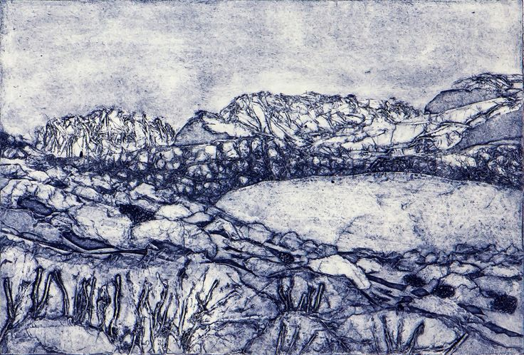 A handmade collograph print inspired by a photo of Dove Lake in Tasmania. For sale on my website.