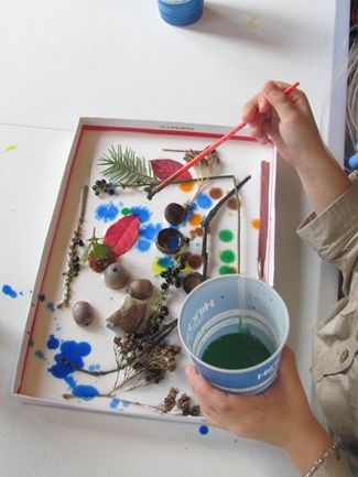 shadow boxes. fill a box lid with glue, stick 3-d objects to the glue, add drops of watercolor. gorgeous!