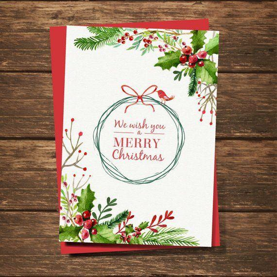 Custom Holiday Cards Christmas Holiday Greeting Cards Etsy Watercolor Christmas Cards Print Christmas Card Diy Christmas Cards