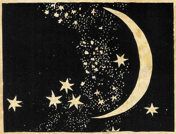 Moon and Stars Art Print - Elegant Paper Cut - Night Sky - Black and White Sepia - Natural History Illustration - Outer Space Art.