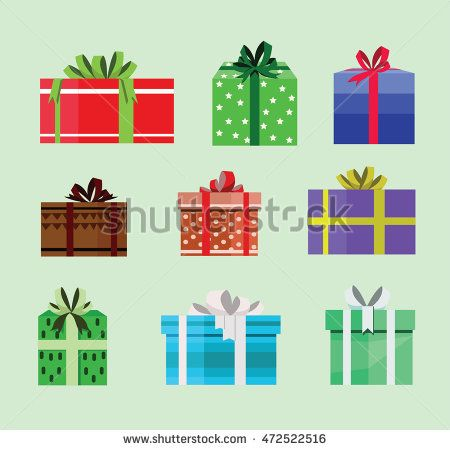 gift box birthday set present with different pattern. vector illustration 90