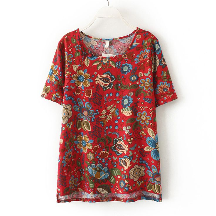 women summer fashionT-shirts2016 flower print  cotton linen  plus size T-shirt  lady european casual vintage white big t-shirt