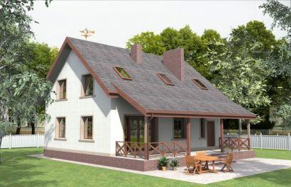 Проект дома с мансардой и просторной террасой Rg3860 Вид1