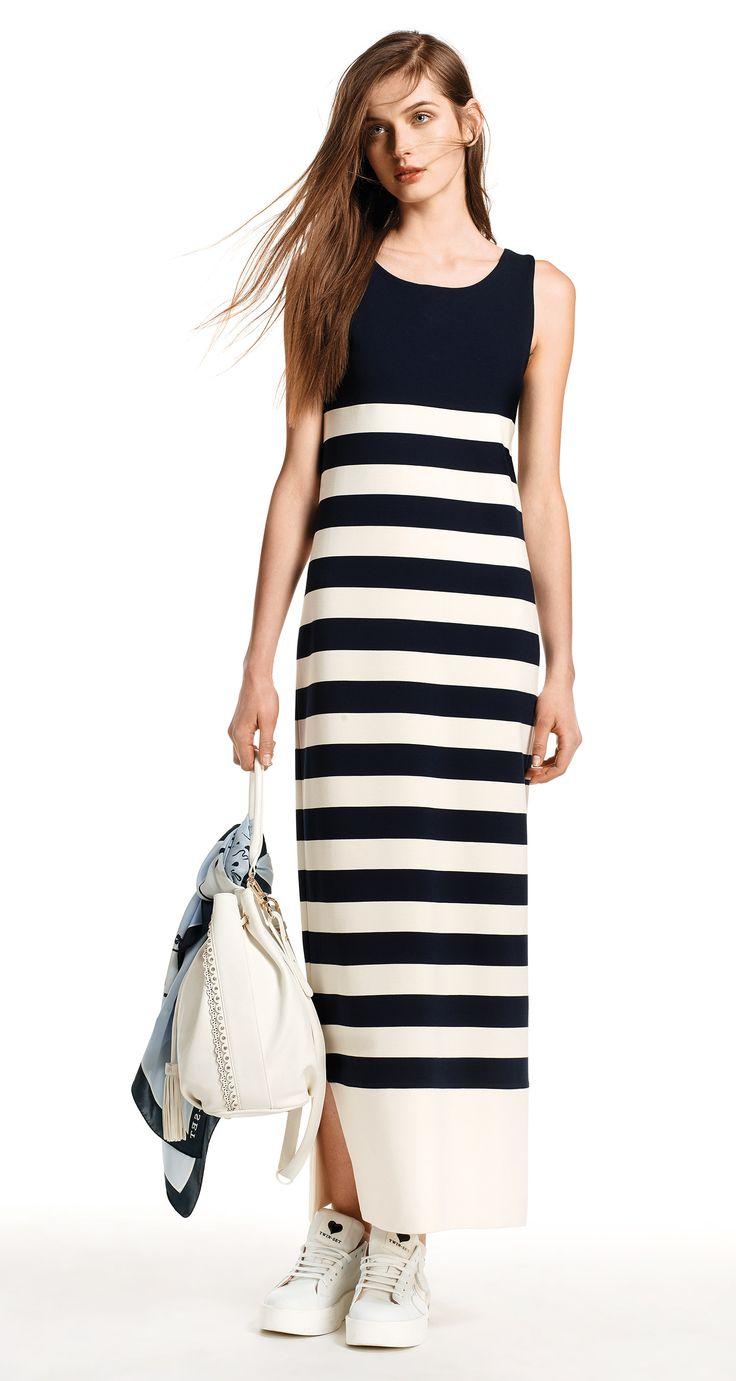 TWIN-SET Simona Barbieri, 2016 Summer collection: striped Milano stitch jersey long tank top dress, code KS62LN.
