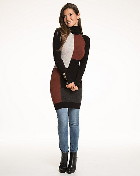 Patchwork Wool Blend Turtle Neck Sweater