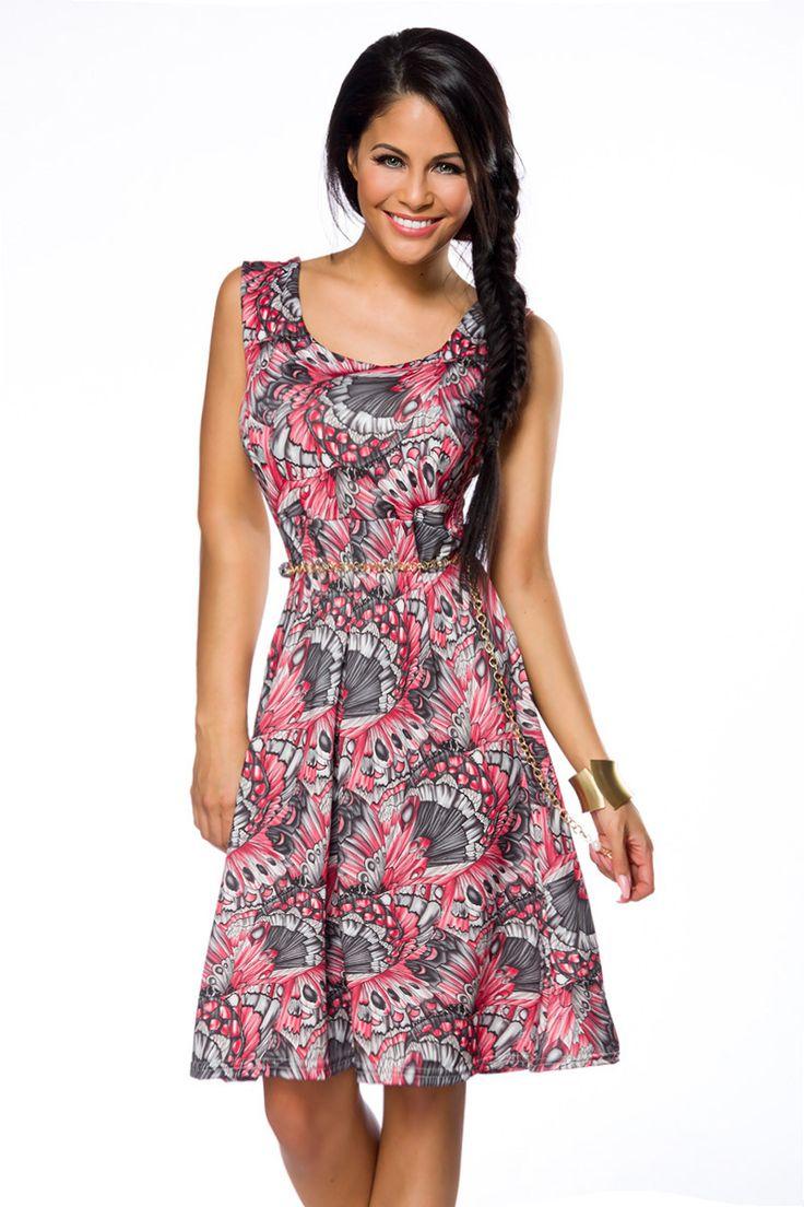 kurzes sommerkleid pink gemustert sommerkleider kleider r cke bekleidung frauen. Black Bedroom Furniture Sets. Home Design Ideas