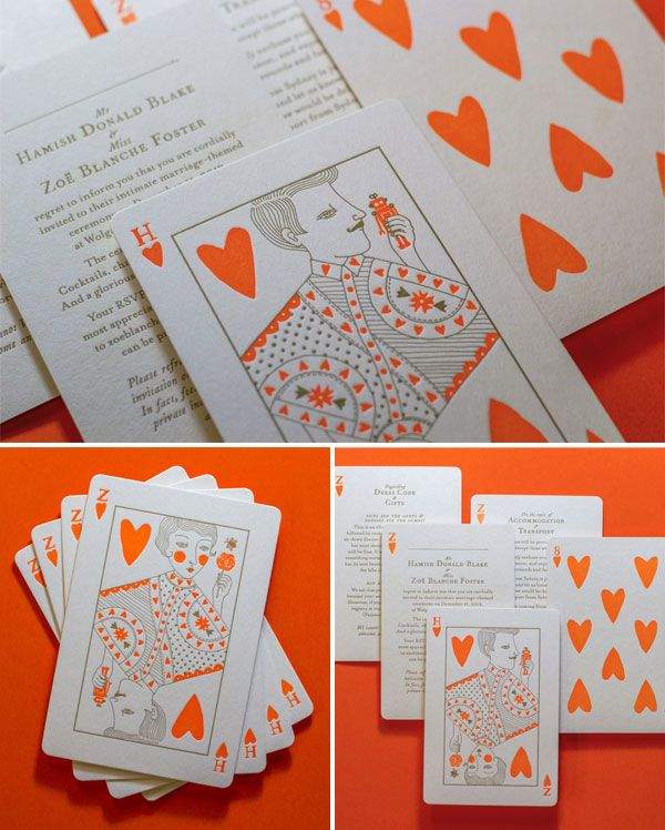 Neon Orange + Gold Letterpress Playing Card Wedding Invitations   Printing by The Hungry Workshop and Illustration by Allison Colpoys