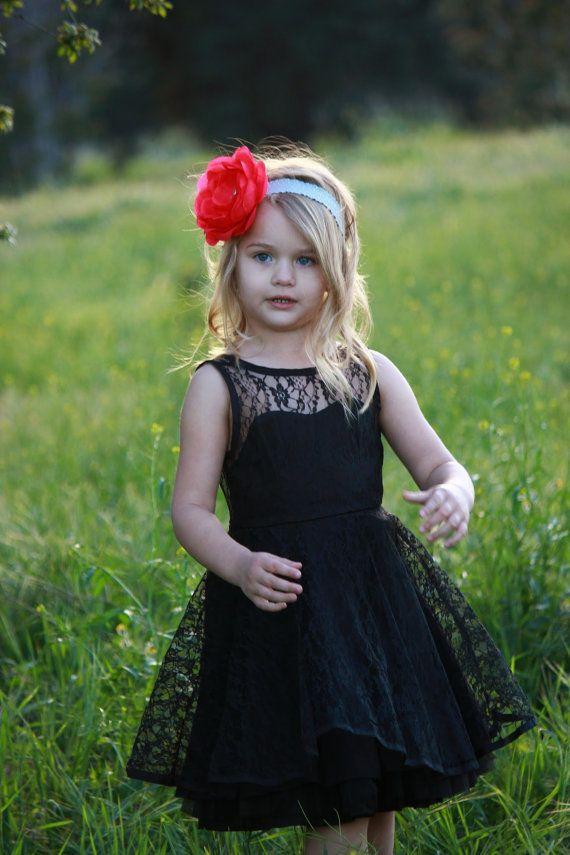 Baby Girls vintage lace Tutu dress Flowergirl Black Audrey Hepburn style on Etsy, $48.00
