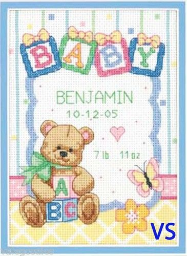 Dimensions Counted #crossstitch BABY BLOCKS Birth Record ♥ #ebay #sale #gift…