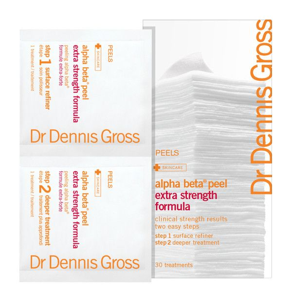 DENNIS GROSS EXTRA STRENGTH ALPHA BETA PEEL - 30 APPLICATION PACKETTES $86.00 CAD  EXTRA STRENGTH FORMULATION FOR STUBBORN SKIN CONDITIONS THAT HAVE NOT RESPONDED FAVOURABLY TO OTHER ANTI-AGING TREATMENTS.   Dr. Gross' extra-strength version of his #1 selling anti-aging facial peel on presoaked towelettes. This patented two-step treatment diminishes wrinkles, reduces pore size and dark spots, and improves skin tone and texture. 30 treatments.  #DrDennisGross #face #exfoliant