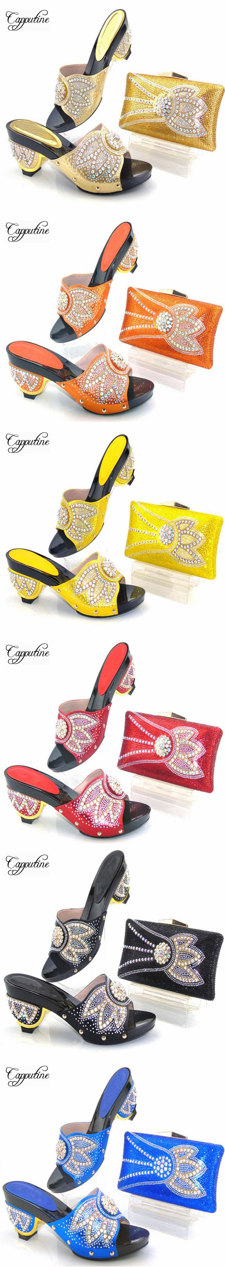 Capputine New Africa Fashion Woman Shoes And Purse Set For Party Nigeria Rhinestone High Heels Shoes And Bag Set TYS17-40