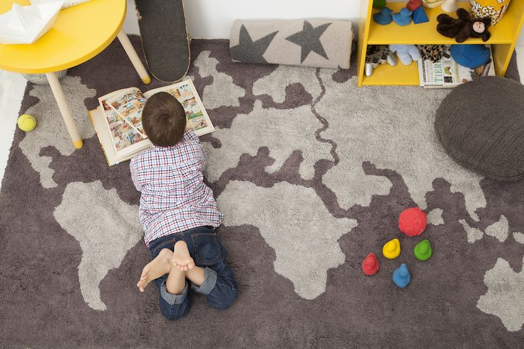 Lorena Canals Machine-Washable Modern Rugs. The map rug is perfect for boys bedrooms. For more kids room ideas and to shop Lorena Canals stylish kids rugs, visit lorenacanals.com