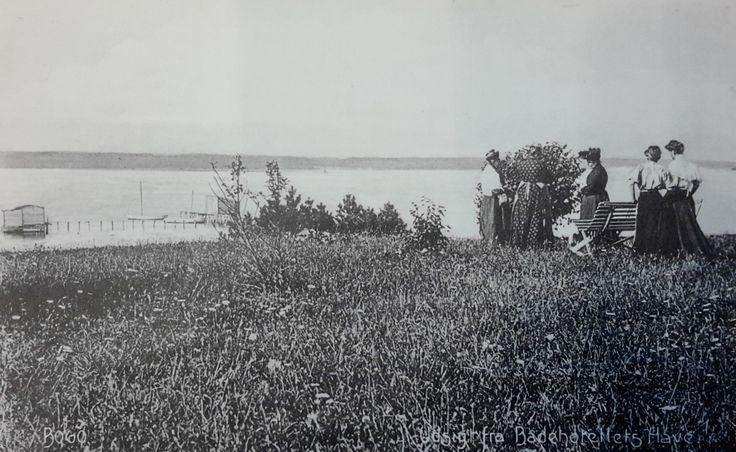"""Bogø Badehotel """"Søvang"""", tidligt i 1900-tallet. Udsigt fra hotellets have…"""