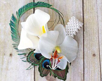 Pavo real ramillete de la muñeca ~ pulsera Cala ~ boda del pavo real ~ Corsage de orquídea del Peacock ~ madre del ramillete del novio ~ madre del regalo de la novia