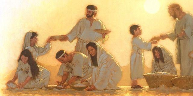 Israelitas recolhendo maná, o pão do céu