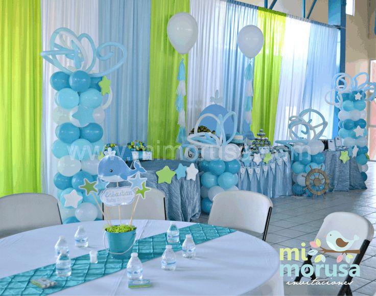 hermoso baby shower con el tema de una ballenita colores azl turquesa teal