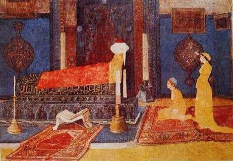Osmam Hamdi: Türbe Ziyareti. Tuval uzerine yagliboya. 76×111 cm. Ozel koleksiyon