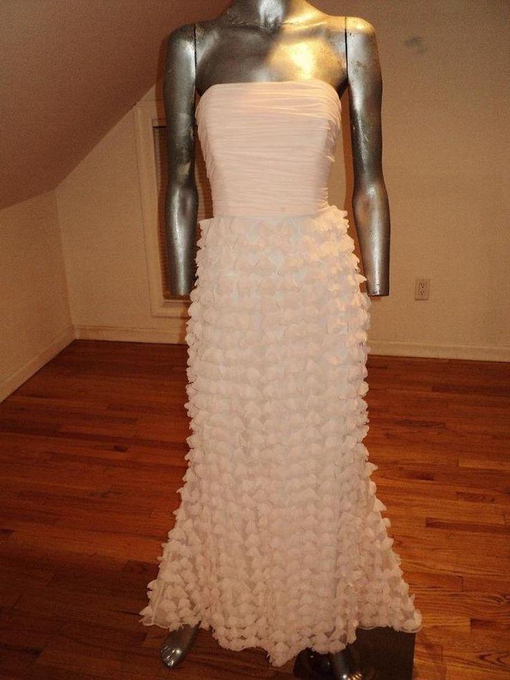 Vintage ballet pink Bagdley Mischka Collection petal strapless chiffon Gown  | eBay