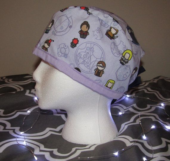 Doctor Who Doctors and Companions Scrub Cap  by TheMadScrubCapper
