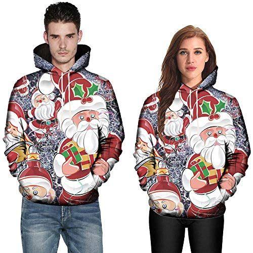 Alalaso Mens Christmas Hoodies Fashion Print Hooded Drawstring Sweatshirt Pullover Tops Jacket with Pocket