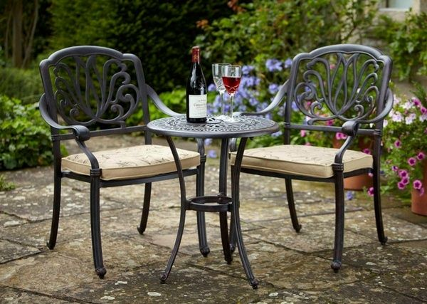 Garden Furniture Cast Iron Garden Table Round Metallic