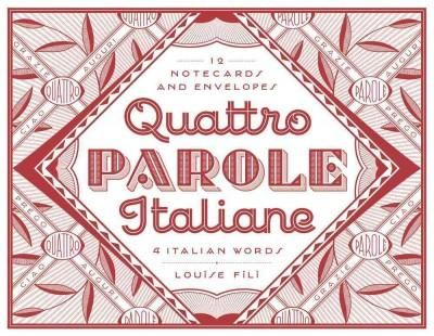 This set of twelve impeccably-designed notecards features four iconic Italian expressions: grazie, prego, auguri, ciao (thank you, with pleasure, greetings, hello). Designer Louise Fili ( Elegantissim