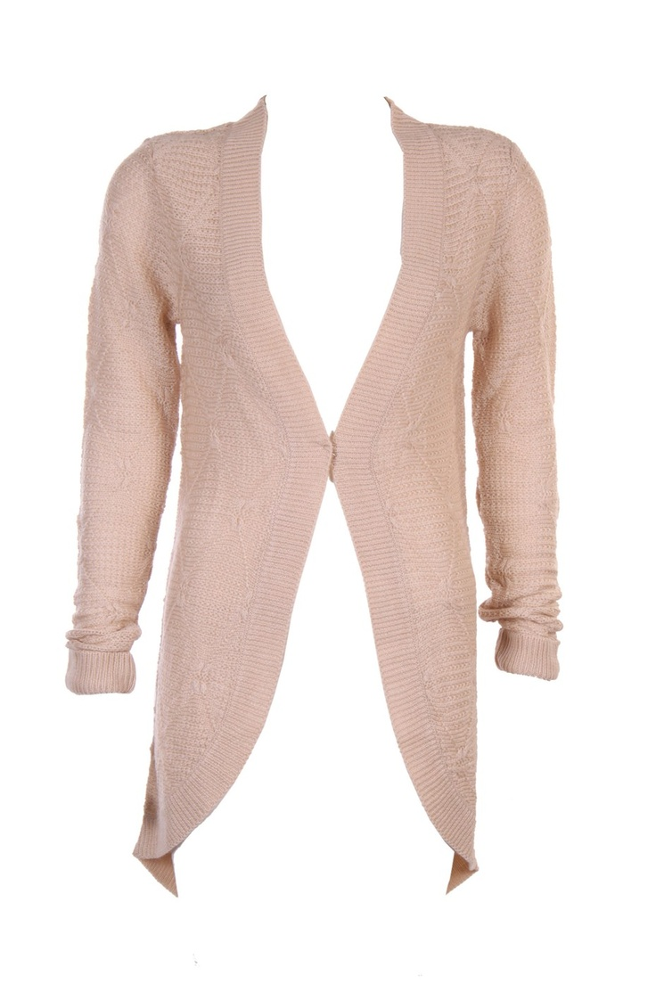 """""""Structured Knit Front Open Cardigan;Beige Colour In 100% Soft Acrylic; 36.5 """" In Length"""" Outer Wear #Clothing #Fashion #Style #Wear #Colors #Apparel #SemiFormal #Casuals #W for #Woman"""