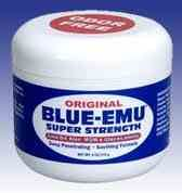 Original BLUE-EMU® Super Strength Pain Relief Cream. 4 oz This special, original emu-oil formula will soothe while penetrating deeply. temporarily relieves minor pain associated with arthritis, backache, muscle strains, muscle sprains, bruises and cramps.  Aloe Vera-based Super Strength All Natural Pain Relief Cream.  PainRelieverStore.com ®