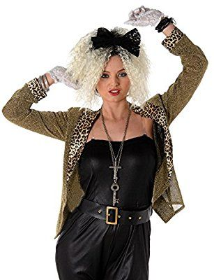 80s Mega Pop Star Fancy Dress Ladies 1980s Madonna Celebrity Women Adult Costume (Medium UK 12-14)