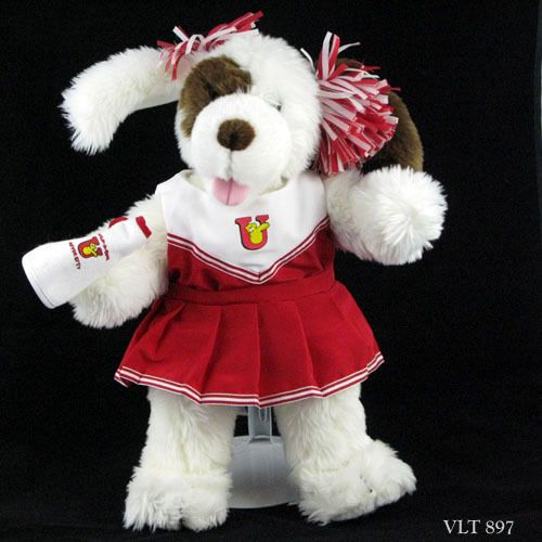 Build A Bear Cheerleader Dog Red Outfit On White And Brown