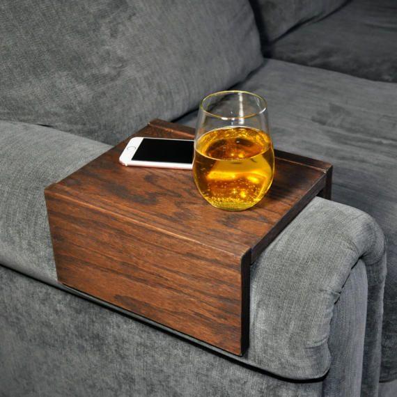 Sofa Armrest Table Custom Couch Armrest Chair Caddy Wood Etsy Arm Rest Table Couch Table Custom Couches