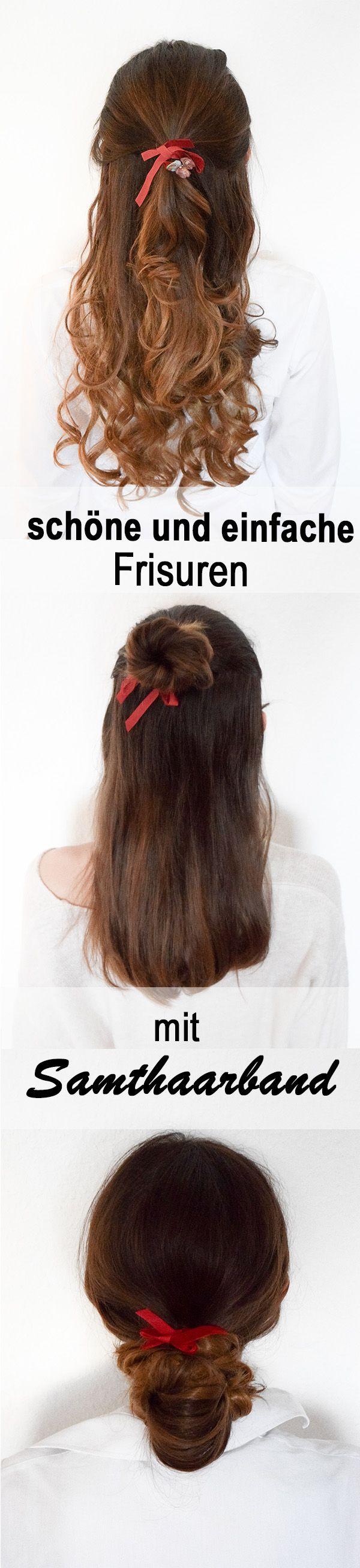 Schöne und einfache Frisuren mit einem Samthaarband. Das rote Duttbändchen von Weareflowergirls eignet sich perfekt für verschiedene Frisur Varianten. Das rote samtene Duttbändchen ist mit Vintage Blumen verziert. Der Half Tail, der Low Bun und der Half Bun werden zu etwas ganz besonderem mit einem zusätzlichen Haarbändchen. Lange Haare mit Locken, braune lange Haare mit blonden karamell Balayage Highlights. Mittellange brünette Haare mit natürlichem Ombré Effekt