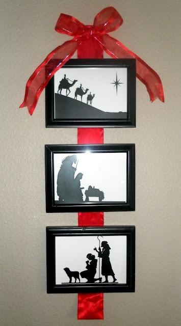 DIY~ 3 Pic Nativity Wall Hanging~ Going to one for each of the girls rooms using ribbon the same colors that are in their rooms. :)