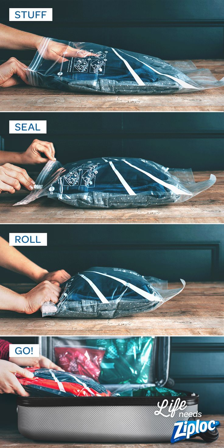 Such a smart tip from @jojotastic! Use Ziploc® Space Bag® Travel bags in your suitcase when traveling. They don't require a vacuum, so you can pack and unpack them easily. Just stuff, seal, roll, and go. Perfect for carry-on bags, organizing kids outfits, or separating different types of clothing.
