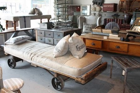 more industrial decor - wish I had this daybed...wish I could rummage through this place :)