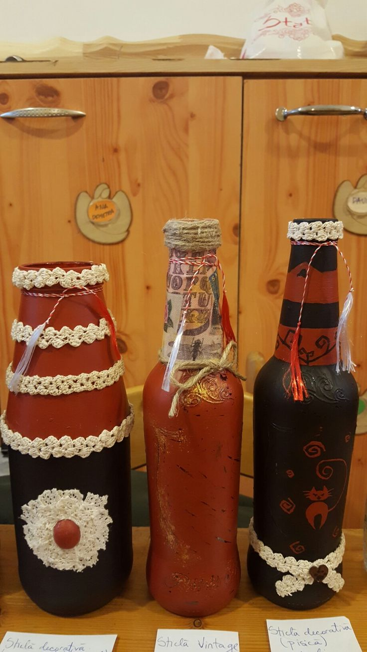 Decorating recycled bottles - made by PandaLav Design