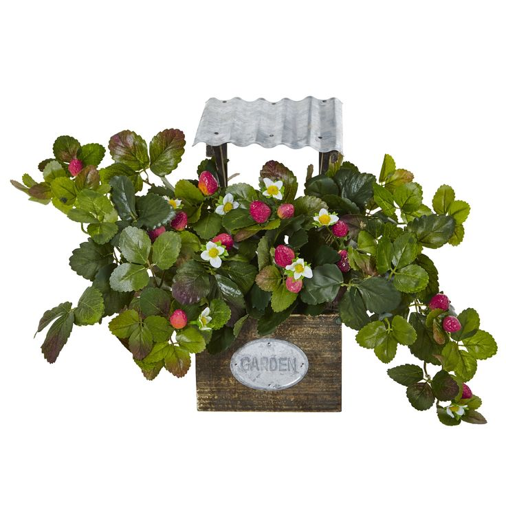 Don't eat the strawberries! They're artificial! This faux strawberry bush is perfect for when you want to bring the outside summer inside and it's the middle of winter. Comes in a playful garden planter made of wood and corrugated metal.