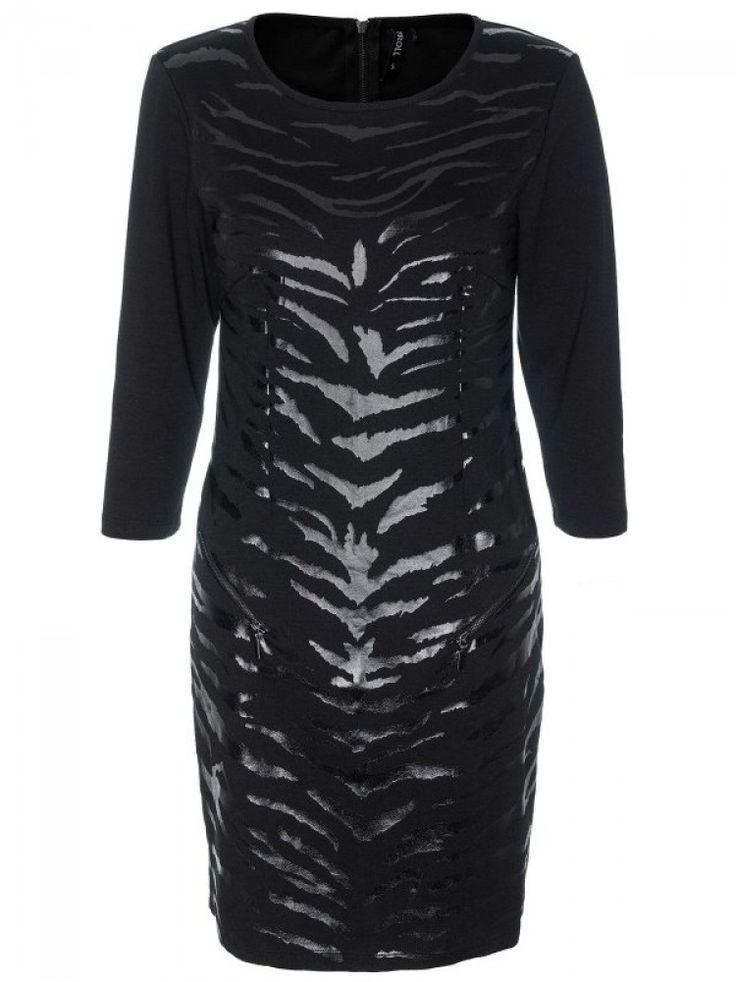 Γυναικείο φόρεμα με animal print. Χρώμα: Μαύρο.